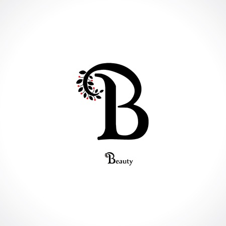 cursive: letter b in floral style
