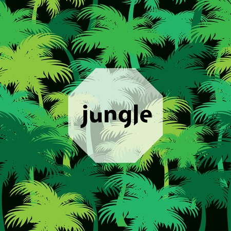 thickets: green tropical jungle seamless pattern with palm thickets