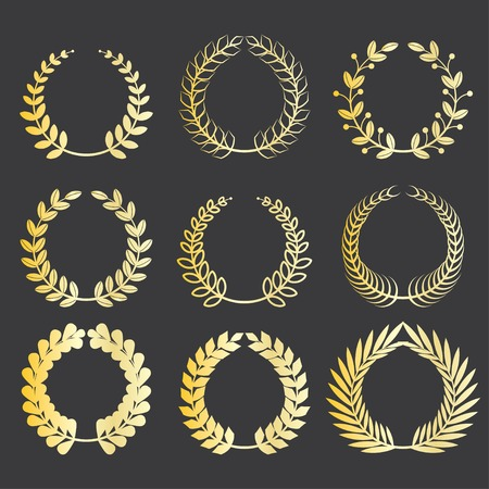wreath of wheat: set of various gold award laurel wreaths to decorate your design works Illustration