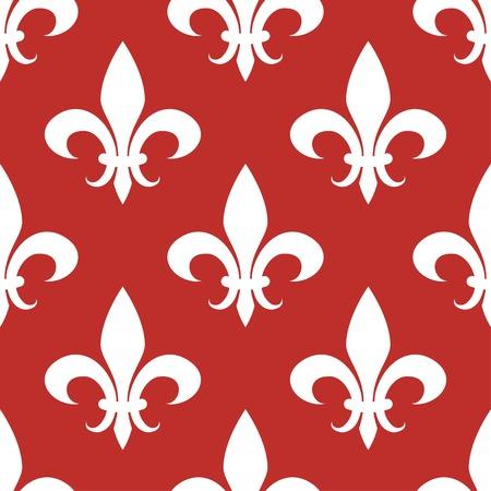 fleur de lis seamless pattern white on red background Ilustrace