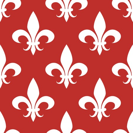 fleur de lis seamless pattern white on red background Illustration