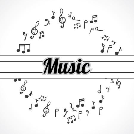 iconos de música: notas de la música en un círculo resumen de antecedentes
