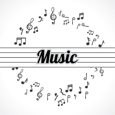 music notes in a circle abstract background Illustration