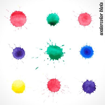 vector set of colorful watercolor blots