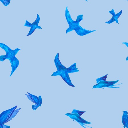birds in flight: flying birds painted watercolor. seamless vector illustration Illustration
