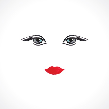 women face stare: woman eyes and lips. watercolor vector illustration