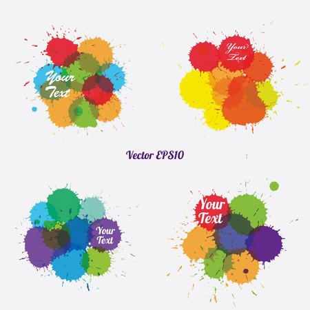 set of ink colorful splashes