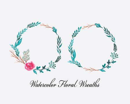라운드 꽃 화환으로 그린 수채화