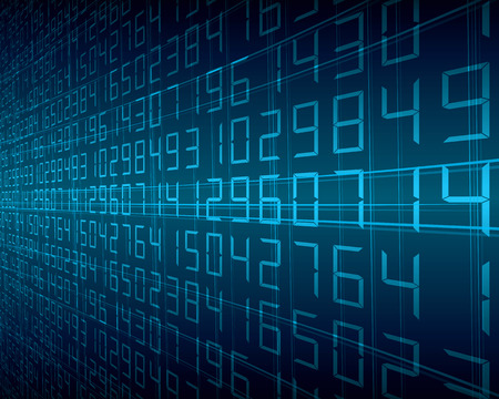デジタル数字の抽象背景青  イラスト・ベクター素材