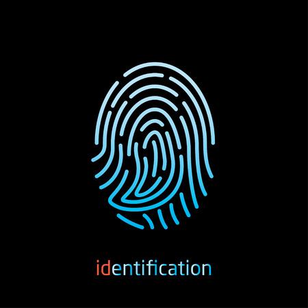 identity protection: fingerprint for identification vector icon