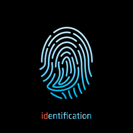 huella digital para el icono del vector de identificación