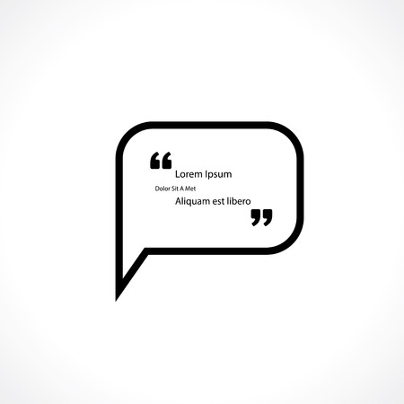 and comma: speech bubble with quotes for text Illustration