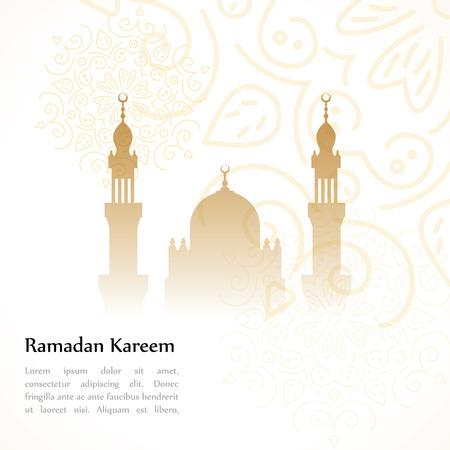 ramadhan: Ramadan greetings postcard with the image of the mosque. Ramadan Kareem means Generous month of Ramadan Illustration
