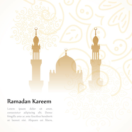 Ramadan greetings postcard with the image of the mosque. Ramadan Kareem means Generous month of Ramadan Illustration