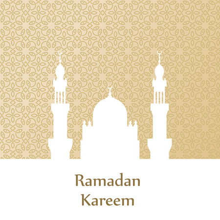 malaysia: Ramadan greetings postcard with the image of the mosque. Ramadan Kareem means Generous month of Ramadan Illustration