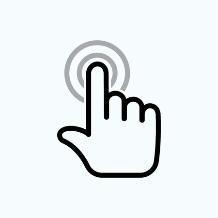 click here: hand is touching the buttons. hand click icon