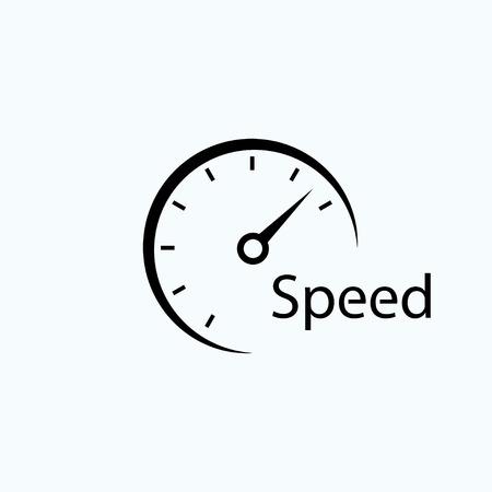 スピード メーターのアイコン。速さの象徴。テンプレート ロゴ デザイン