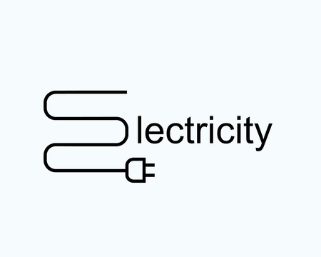 energy supply: wire with the plug in the form of the letter e. symbol of electricity