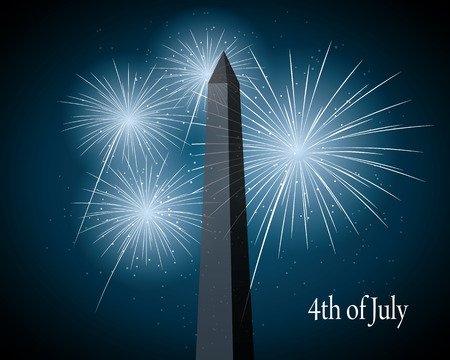 displays: displays of fireworks over the Washington Monument. vector illustration Illustration