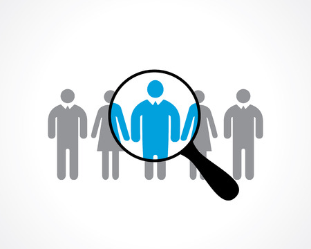 recruitment icon: search for employees. recruitment. vector icon Illustration