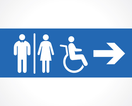 disabled person: icon of restroom signboard Illustration