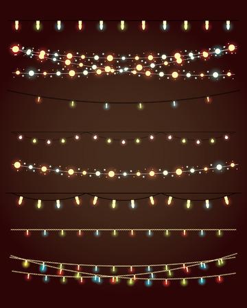 Światła: Christmas lampki na ciemnym tle. Zestaw wektora eps10 Ilustracja