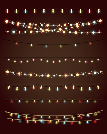 strings: christmas lights on dark background. vector set eps10 Illustration