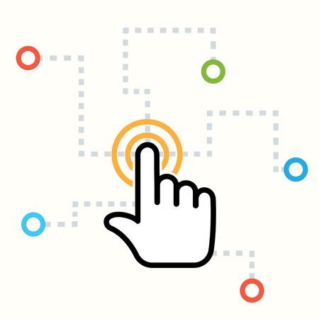 klik: interactie abstract begrip Stock Illustratie