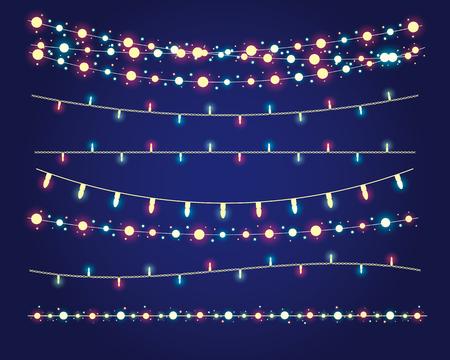 Światła: Boże Narodzenie zapala świąteczne dekoracje. Ilustracja