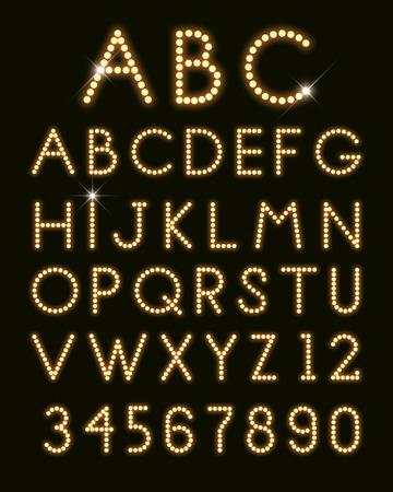 glowing letters font light bulbs