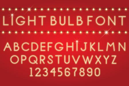 gloeiende brieven font gloeilampen Stock Illustratie