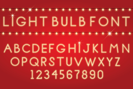 bright light: glowing letters font light bulbs