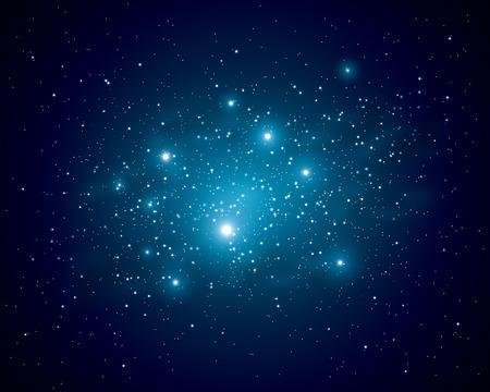 우주에서 별들의 빛나는 일러스트