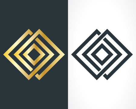 gold font: square icon template Illustration