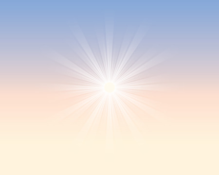 noon: suns rays in the sky Illustration