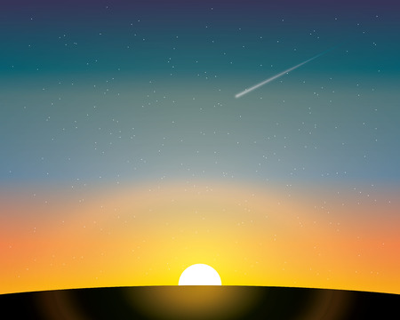 planetoid: the setting sun above the earths surface and the flying meteor in the night sky. vector illustration