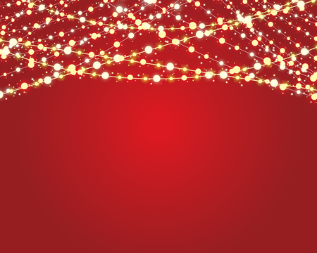 string: festive background with burning light bulbs on red