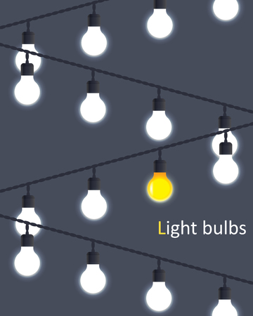 strings: hanging on wires light bulbs. vector background