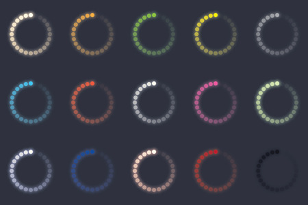 circle icon: glowing round icons loading and buffering