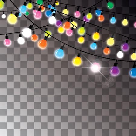 bunte Glühbirnen an Drähten hängen