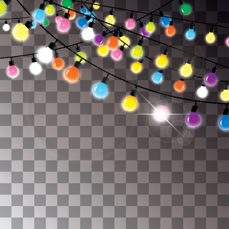 colorful light bulbs hanging on wires