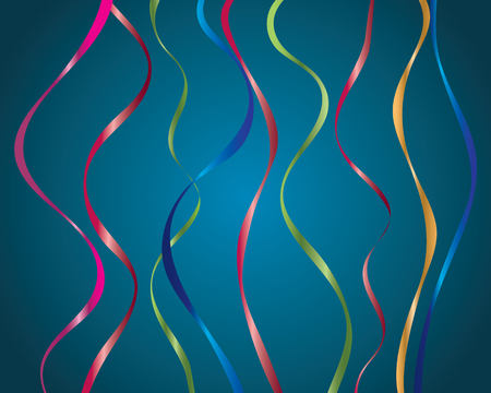 festive ribbon streamers set on blue for decor