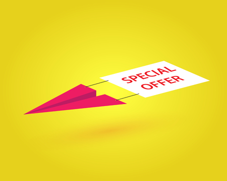 paper airplane: paper airplane with an advertising banner