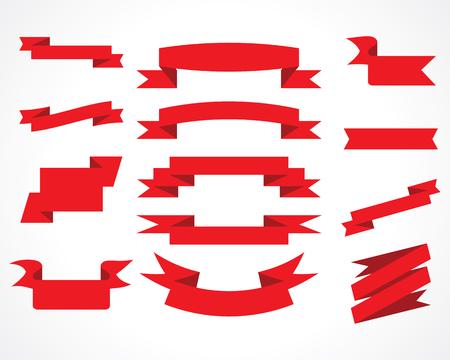 ribbon banner: ribbons red vector set