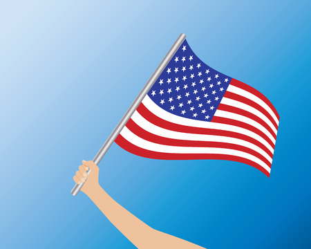 USA flag in hand illustration