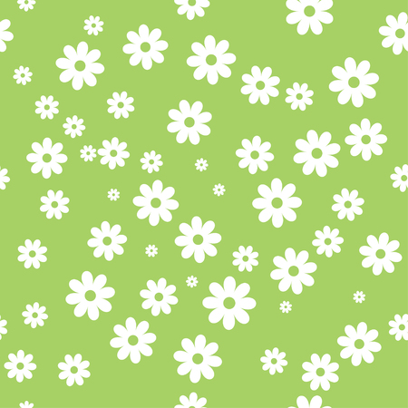 daisies on green background, vector illustration.