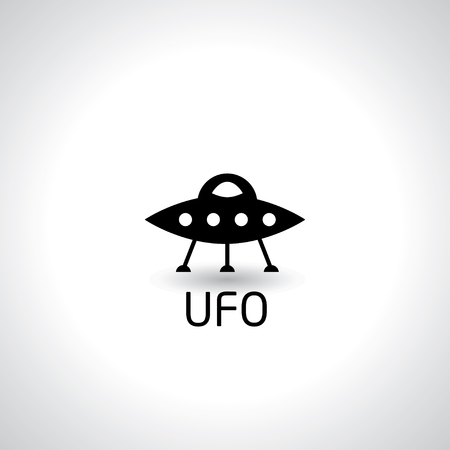 ufo icon on white background, vector illustration.