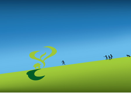 green land with people