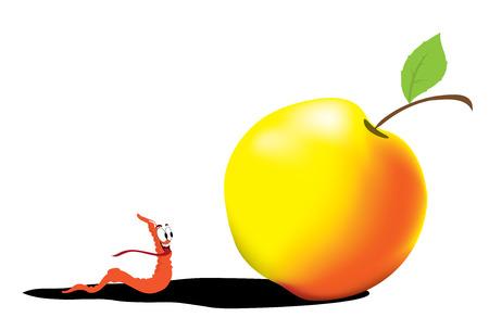 worm with apple Illustration