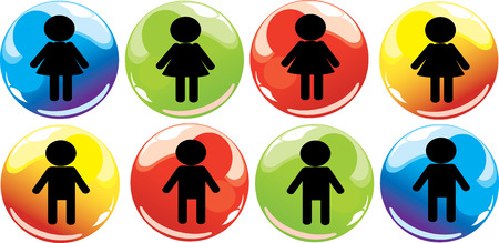 boy and girl signs Illustration